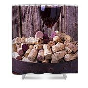 Glass Of Wine With Corks Shower Curtain