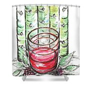 Glass Rosy Wine Shower Curtain