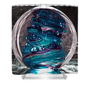 Glass Sculpture Blues And Purple Rb4 Shower Curtain