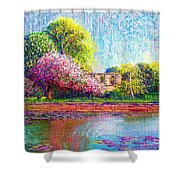 Glastonbury Abbey Lily Pool Shower Curtain by Jane Small