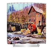 Glen Creek Grist Mill Painting Shower Curtain