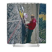 T-306607-glen Denny With Me On El Cap First Ascent 1962 Shower Curtain