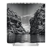 Glen Helen Gorge-outback Central Australia Black And White Shower Curtain