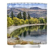 Glendhu Bay Lake Wanaka With Autumnal Trees Shower Curtain