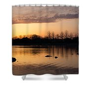 Gloaming - Subtle Pink Lavender And Orange At The Lake Shower Curtain