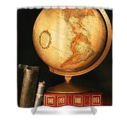 Globe And Books Shower Curtain by Don Hammond