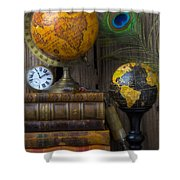 Globes And Old Books Shower Curtain