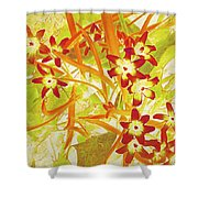Glory Of The Snow - Lime Green And Orange Shower Curtain