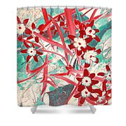 Glory Of The Snow - Red And Turquoise Shower Curtain
