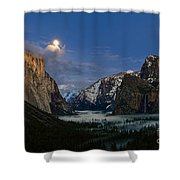 Glow - Moonrise Over Yosemite National Park. Shower Curtain