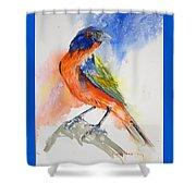 Da188 Glow Of The Painted Bunting Daniel Adams Shower Curtain