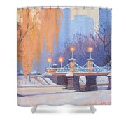 Glow On The Bridge Shower Curtain