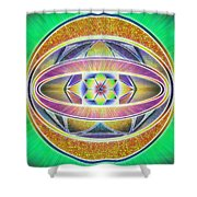 Glow Sphere Delta Shower Curtain by Derek Gedney