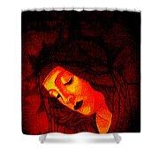 Glowing Botticelli Madonna Shower Curtain