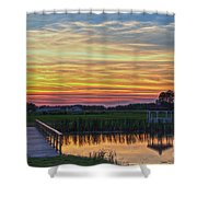 Glowing East Coast Sunset Shower Curtain