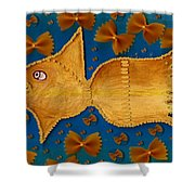 Glowing  Gold Fish Shower Curtain