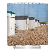 Glyne Gap Beach Huts In Sussex Shower Curtain
