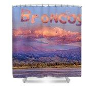 Go Broncos Colorado Front Range Longs Moon Sunrise Shower Curtain