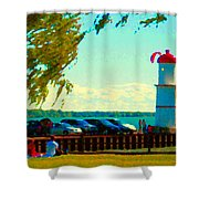 Go Fly A Kite Off A Short Pier Lachine Lighthouse Summer Scene Carole Spandau Montreal Art  Shower Curtain
