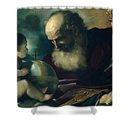 God The Father And Angel Shower Curtain