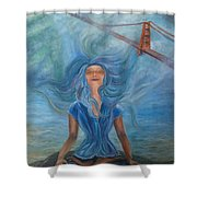 Goddess Of Golden Gate Brigde Shower Curtain