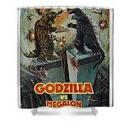 Godzilla Vs Megalon Poster Shower Curtain