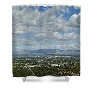 Going Places Cloudy Blue Sky Panoramic Shower Curtain