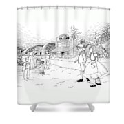 Walking To School Shower Curtain