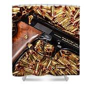 Gold 9mm Beretta With Brass Ammo Shower Curtain