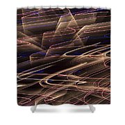 Gold Abstract Lights Shower Curtain
