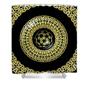 Gold And Black Stained Glass Kaleidoscope Under Glass Shower Curtain