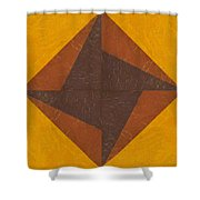 Gold And Brown Pinwheel Shower Curtain