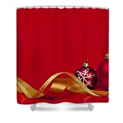 Gold And Red Christmas Decorations Shower Curtain