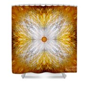 Gold And White Light Mandala Shower Curtain