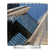 Gold Black And Blue Geometry - Royal Bank Plaza Shower Curtain