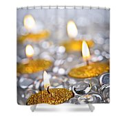 Gold Christmas Candles Shower Curtain by Elena Elisseeva