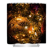 Gold Christmas Ornament Shower Curtain