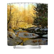 Gold Creek Glow Shower Curtain