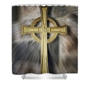Gold Cross Shower Curtain