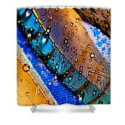 Gold Jay Feathers Shower Curtain