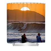 Gold Kaena Sunset Shower Curtain