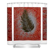 Gold Leaves On Orange Triptych Shower Curtain
