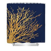 Gold Medley On Navy Shower Curtain