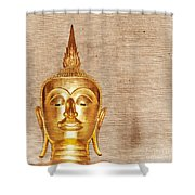 Gold Painted Buddha Statue Shower Curtain