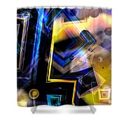 Golden And Blue Shower Curtain