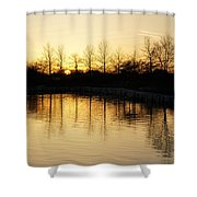 Golden And Peaceful - A Sunset On Lake Ontario In Toronto Canada Shower Curtain