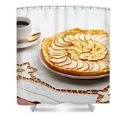 Golden Apple Tart And Coffee Cup Shower Curtain