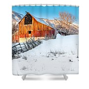 Golden Barn At Sunrise Shower Curtain