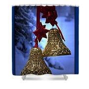 Golden Bells Blue Greeting Card Shower Curtain