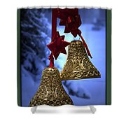 Golden Bells Green Greeting Card Shower Curtain